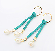 Womne's New European Style Smple Fashion Circle Pearl Drop Earrings