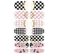 K5652 Water Transfer Nail Art Decals Cartoon Butterfly Grid Design Nail Sticker