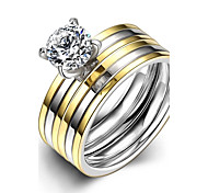 Fashion Generous Couple's Stripes White Zircon Gold-Plated Titanium Steel Couple Rings(Golden)(1Set)