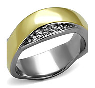 New Wedding Design Classic 2 Tone IP Gold plated Stainless Steel White crystal Ring for women