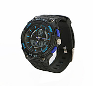 Men's Sport Watch Water Resistant / Water Proof Dual Time Zones Casual Watch Quartz Rubber Band Black