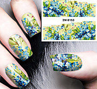 Fashion Printing Pattern Water Transfer Printing Blue Floret Nail Stickers