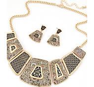 Women European Style Fashion Wild Simple Geometric Metal Necklace Earring Sets