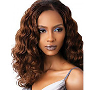 24 inch Women Long Deep Wave Synthetic Hair Wig Dark Brown with Free Hair Net