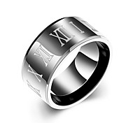 lureme® Unisex 10mm Polished Stainless Steel with Roman Numbers Ring