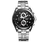 Men's Sport Watch Quartz Calendar Casual Watch Stainless Steel Band Silver Brand