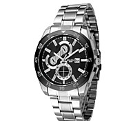 L.WEST Men's fashion leisure steel band watch