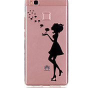 Back Ultra-thin / Transparent Sexy Lady TPU Soft Case Cover For Huawei Huawei P9 / Huawei P9 Lite
