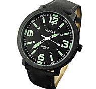 YAZOLE Watches MenS Luminous PU Leather Band Men Analog Sport Noctilucent Wrist Watches Montre Homme