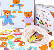 Wooden Magnetic Bear Change Clothes Game, Baby Educational/Puzzles