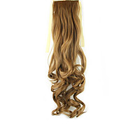 Length Golden Brown Wig Ponytail 55CM Synthetic Pearvolume High Temperature Wire Color 27