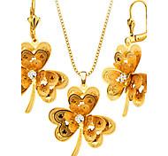 Набор украшений Ожерелье / серьги Мода Позолота Ожерелья Серьги Для Свадьба Для вечеринок 1 комплект Свадебные подарки