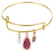 Kimiing Gold/Silver Gem Crystal Drop Adjustable Bangle Bracelet Jewelry