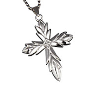 Jesus Cross Pendant, Titanium Necklace - Silver Cross