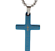 la biblia de papel de titanio collar cruz colgante retro - trompeta azul