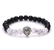 New Arrival Nature Stone Black Sand Grinding Alloy Lion a Bead Bracelet  #YMGS1012 Christmas Gifts