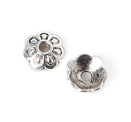 28pcs beadia plata antigua granos de la aleación del casquillo de 8x3mm forma de la flor granos del espaciador
