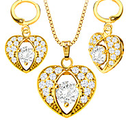 Heart-shaped zircon Necklace earrings Fashion Jewelry Set 18K Gold Plated girl Jewelry Gift S20175