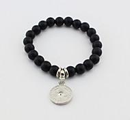 Fashionable Black 19cm Round Strand Bracelets