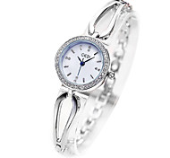 Women's Dress Watch Fashion Watch Simulated Diamond Watch Casual Watch Imitation Diamond Quartz Silicone Band Silver