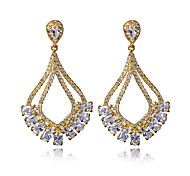 Bohemia Style Brand New Drop Earring 18K Gold and Platinum Plated With Cubic Zirconia copper Earrings Jewelry