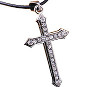 Men'S Titanium Steel Skeleton Necklace, - Crystal Cross Stainless Steel Pendant Leather Cord Necklace