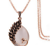 Exquisite Crystal Peacock Pendant Necklace Jewelry for Lady
