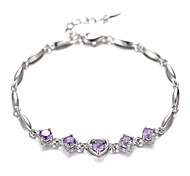 Women's Bracelet Sterling Silver Plated Heart Purple CZ AAA Zircon Chain Bracelet Wedding for Bride for LoverImitation Diamond Birthstone