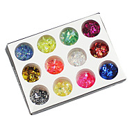 12 Colors Glitter Paper Nail Art Kit