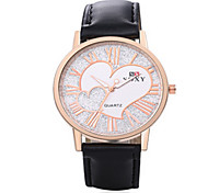 SOXY® Lady's  Black/Brown Leather Band Heart Case Analog Quartz Dress Watch(NO Water Ressistant)