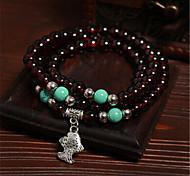 Wine red garnet multilayer beads bracelet Imitation