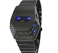 Da uomo Orologio sportivo Digitale LED Acciaio inossidabile Banda Orologio da polso Nero