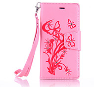 PU Leather Material Butterfly Pattern The Drill Phone Case for Huawei P9 Lite/P9