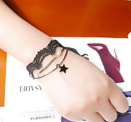 Black Lace Tatoo Fabric Wrap Bracelet with Star Pendant Charm Bracelet