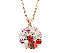HKTC Women's Exquisite Brand Jewelry 18K Rose Gold Plated CZ Diamond Colourful Crystal Round Pendants Necklaces