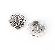 28pcs beadia plata antigua granos de la aleación del casquillo de 9x2mm forma de la flor granos del espaciador
