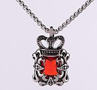 Retro Titanium Necklace Pendant Crown Jewels - Red