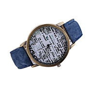 Men's English Letter Case Denim Band Dress Wacth