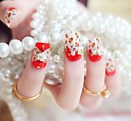 24PCS Fashion Red Leopard Print Nail Tips