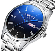 Men's Dress Watch Calendar Quartz Stainless Steel Band Silver
