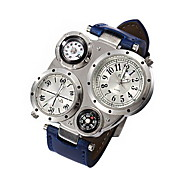 Men's Silver Case PU Leather Band Military Watch with Dual Display