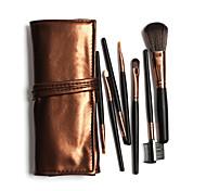 7 Makeup Brushes Set Professional / Portable Hot Sales Black Handles Brown Bags