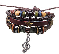 Women Music Pendant Leather Bracelet