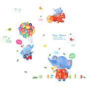 Kindergarten Cartoon Blue Flying Elephant Animals Wall Stickers Environmental DIY Children's Bedroom Wall Decals