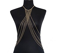 Women's Body Jewelry Belly Chain Body Chain Harness Necklace Gold Plated Sexy Crossover Bikini Fashion Golden Jewelry Daily Casual 1pc