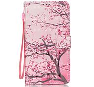 pu couro cereja pintura caixa do telefone material em 3D padrão de árvore para Samsung Galaxy Note 5