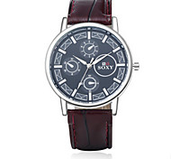 Men's Black/Brown Leather Band Black Case Analog Quartz Dress Watch(NO Water Ressistant) Fashion Watch