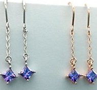Simple Fashion Rhinestone Diamond Shape Long Tassles Earrings