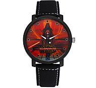 Men's Black/Brown Leather Band Wars Black Animation Case Analog Quartz Dress Watch(NO Water Ressistant)