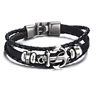 Men's Fashion Personality Alloy Anchor Leather Hand Strap